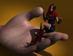 Girl playing with Giant Hand