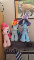 Rainbow Dash, Pinkie Pie, and Trixie plushies