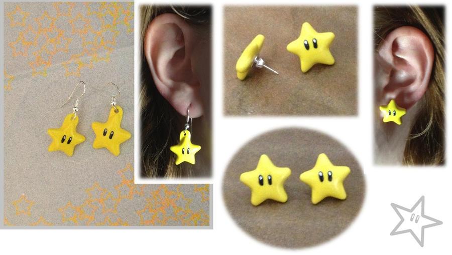 Mario Star Earrings by Xx-tangerine-xX