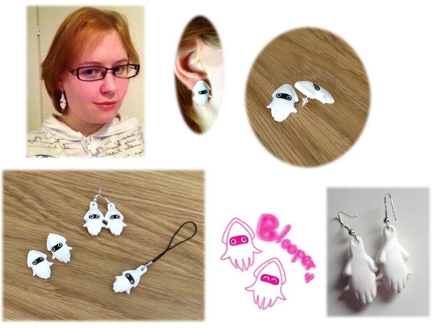 (Mario) Blooper Earrings by Xx-tangerine-xX
