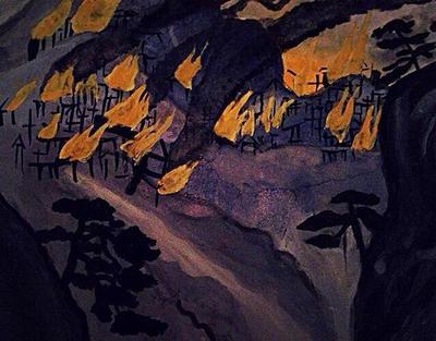 Burning Village by loruleshero