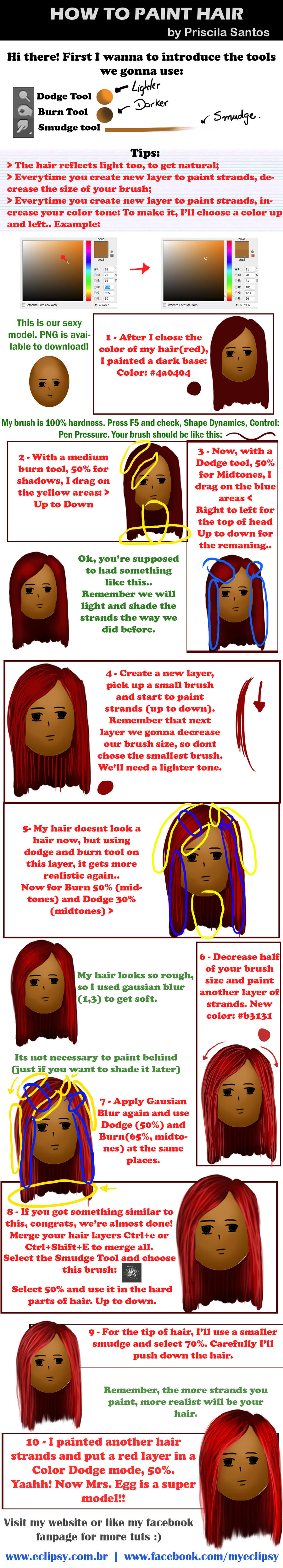 How to paint hair - 10 easy steps by eclipsy