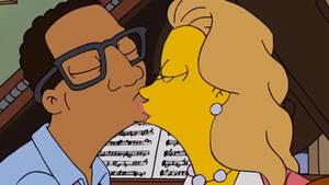 The Simpsons Interracial kiss Milf x black guy