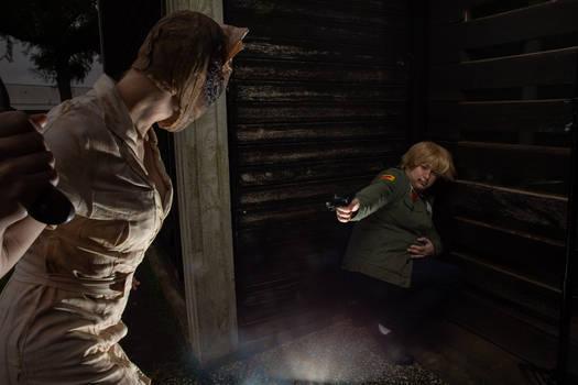 James Sunderland and Silent Hill Nurse Cosplay 5