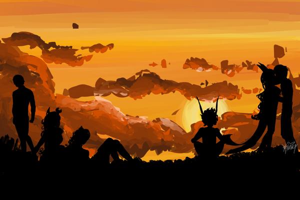 Homestucks at sunset by GoddessOfTheSea