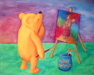 Winnie paints Piglet by clelba