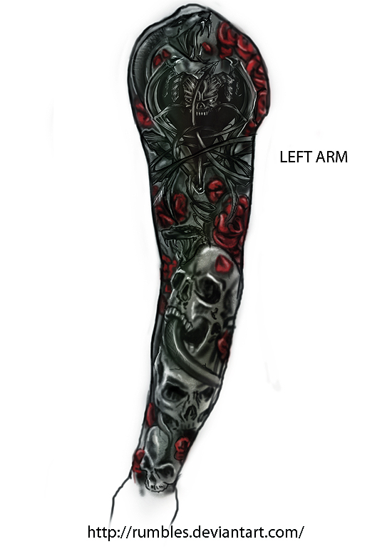Left arm tattoo design v1 by RedSkittlez-DA