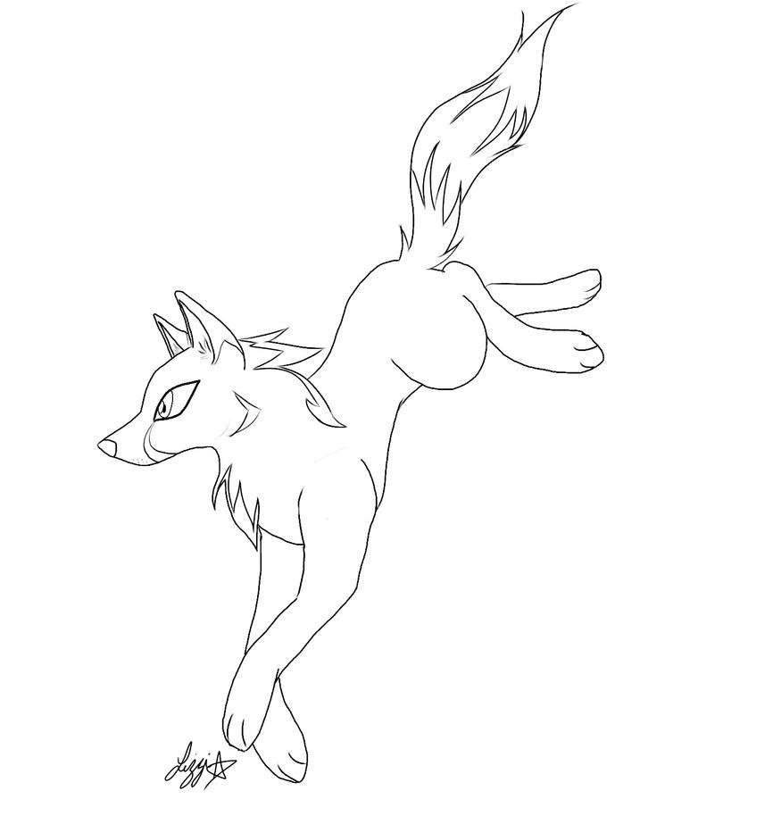 Line Drawing Wolf : Wolf line art by lizzichu on deviantart