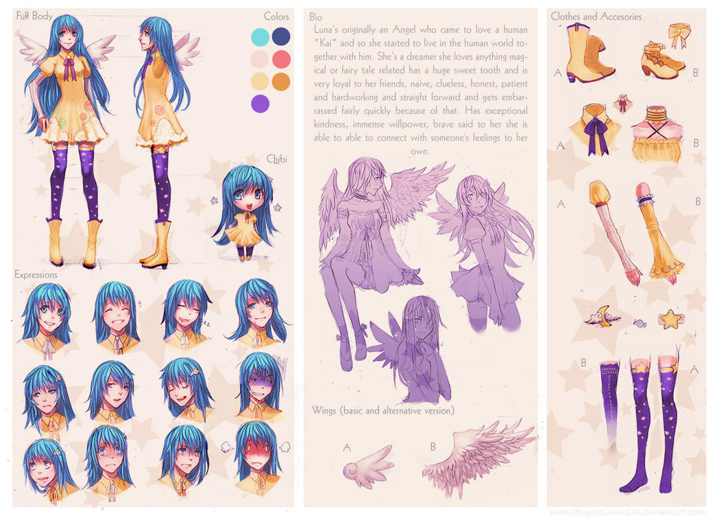 Character Design Commissions Deviantart : Character sheet commission luna by kodamacreative on