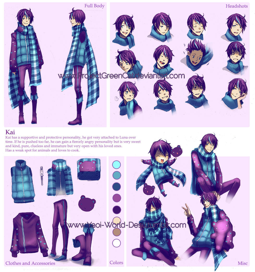 Anime Character Design Base : Character sheet commission kai by kodamacreative on