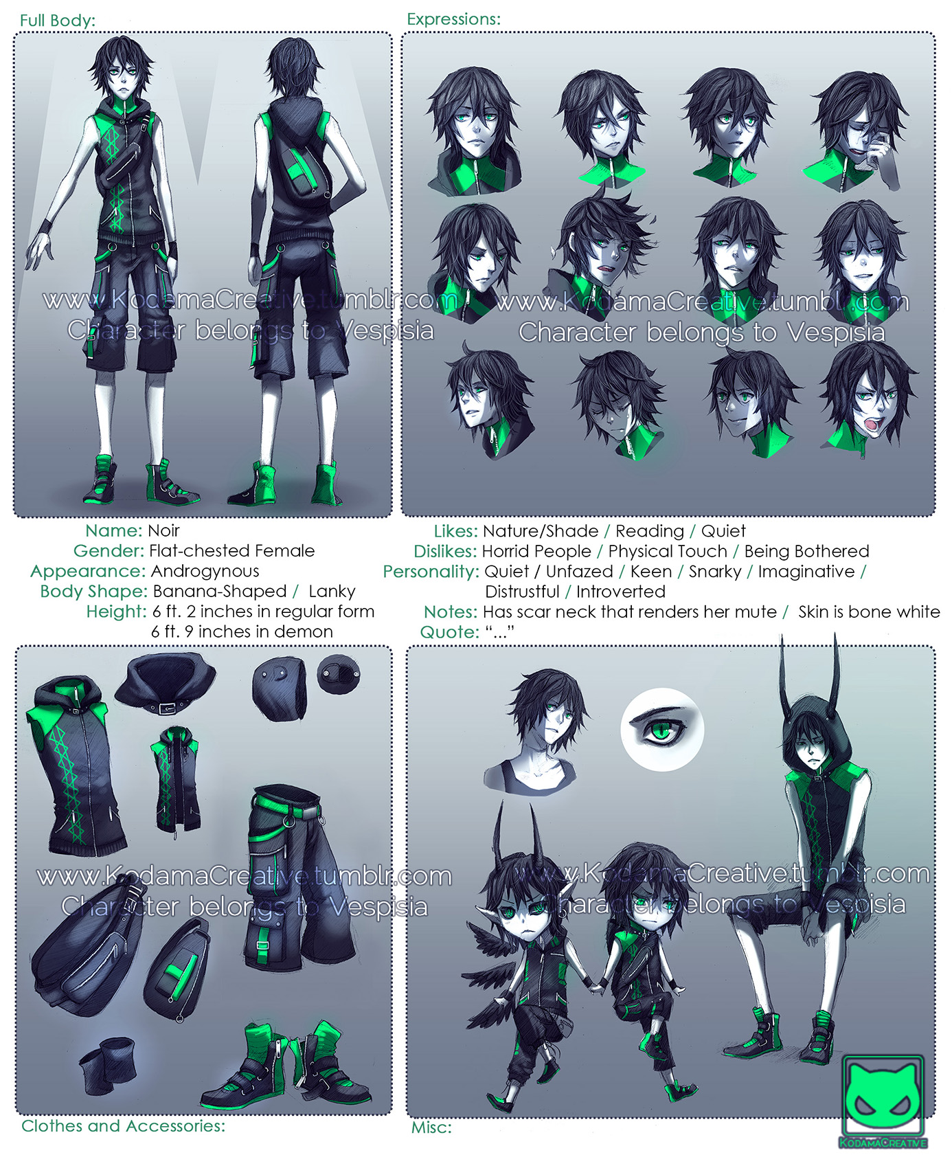 Character Design Profile : Character profile commission noir by kodamacreative on