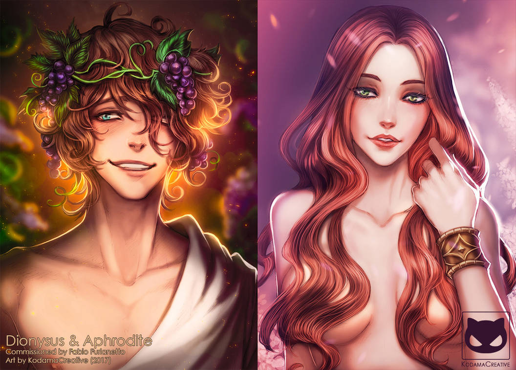 Commission: Greek Gods - Dionysus and Aphrodite by KodamaCreative