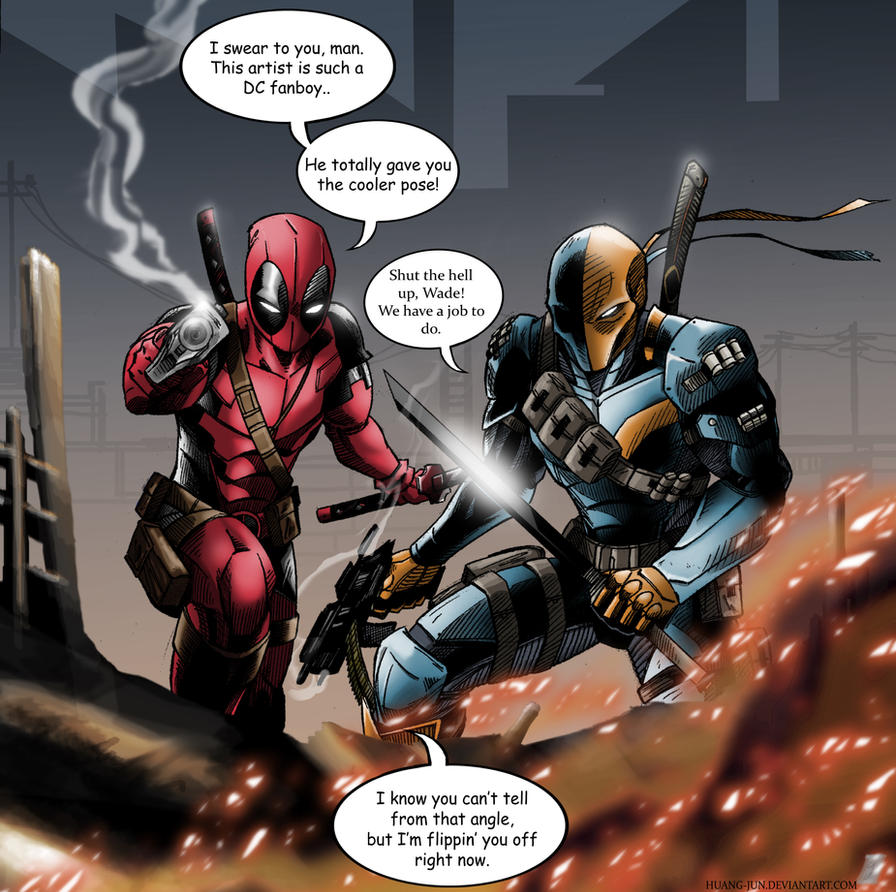 Deathstroke and Deadpool by Huang-Jun