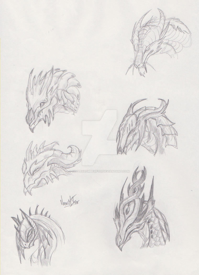 Dragon Face Designs by FuzzehZombehFox