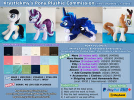 Commission Info - Pony Plushies 2019 (OPEN)