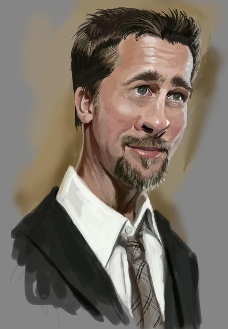 Brad Pitt caricature by claireGary