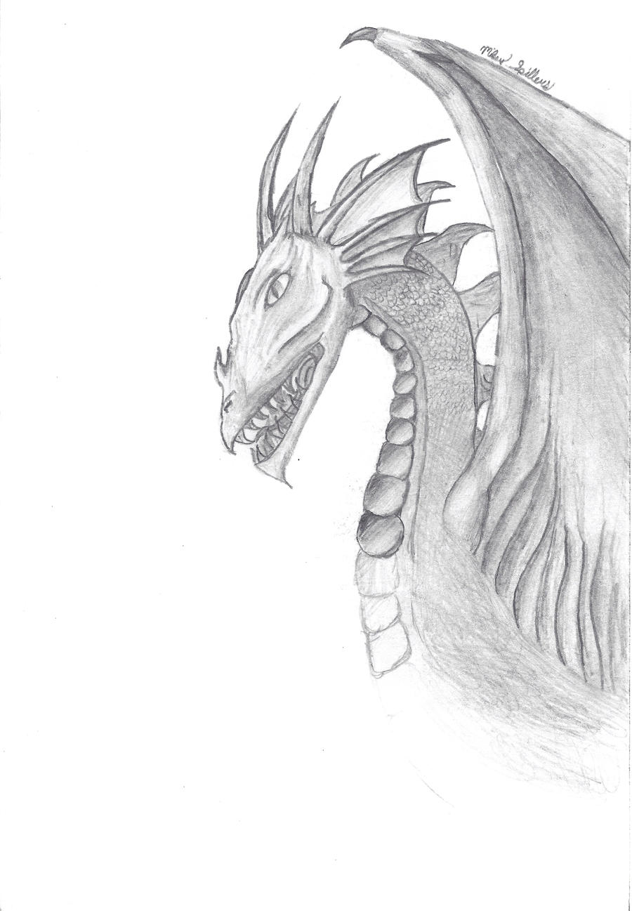 Dragon Drawing by Mikey-Spillers