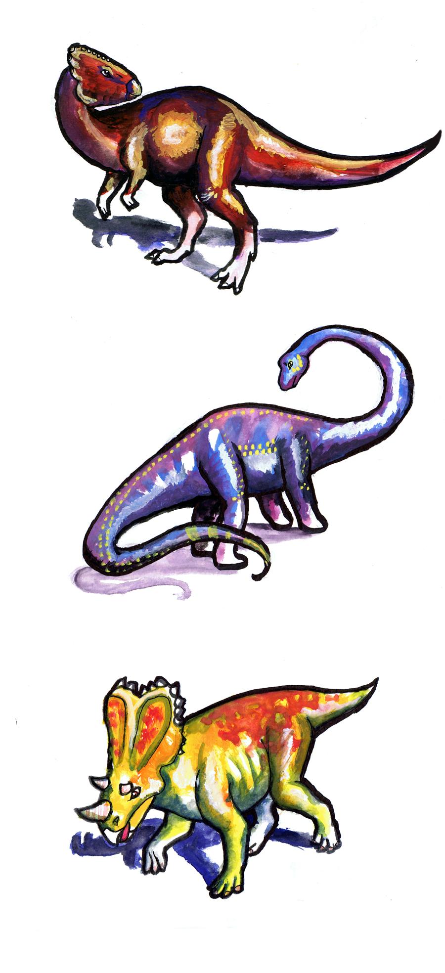 Homalocephale, Mamenchisaurus, by ZellaL