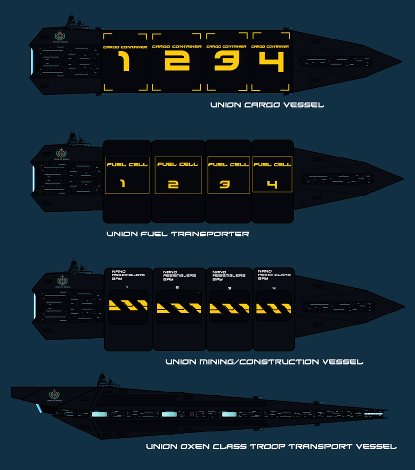 Union Civilian non combat ships WIP by EmperorMyric