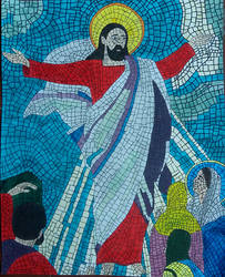 Religious mosaic colored