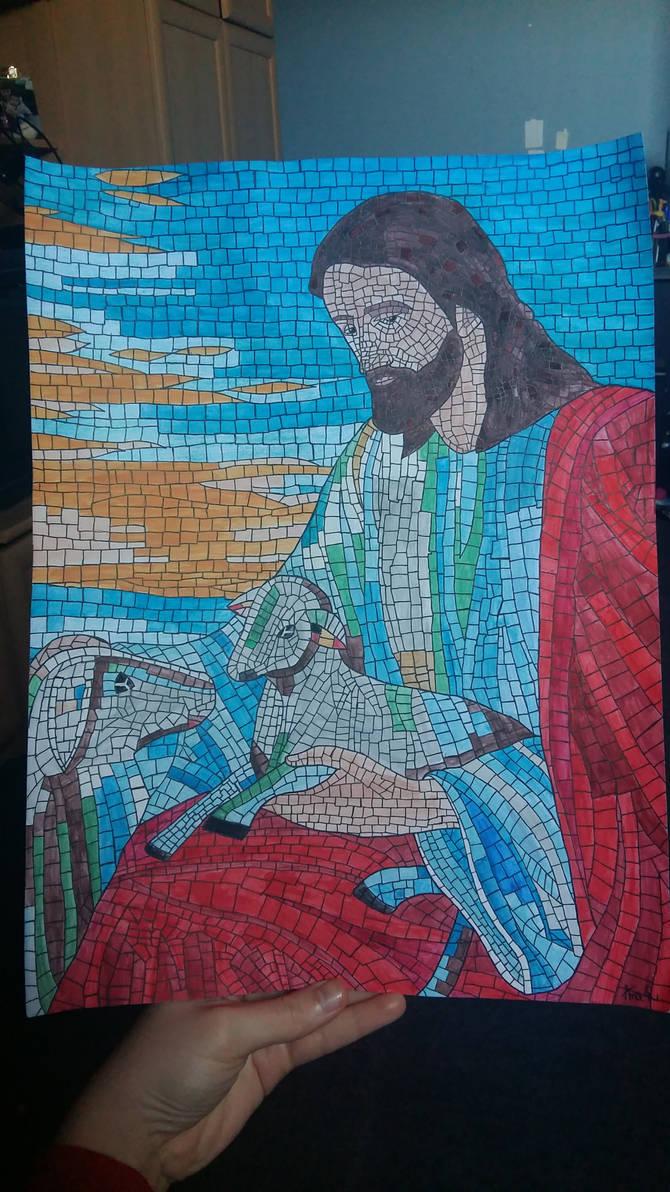 Jesus and the lambs mosaic art