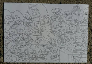 The Simpsons watching TV line art