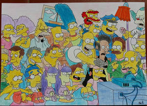 The Simpsons watching TV