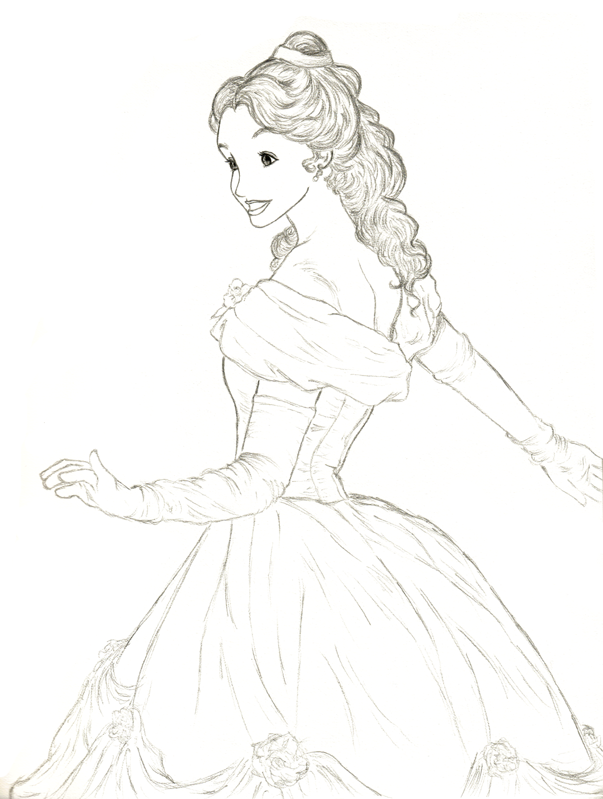 how to draw belle dress