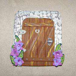 Fairy Door with Purple Flowers