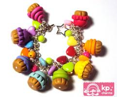 rainbow cupcakes bracelet by KPcharms