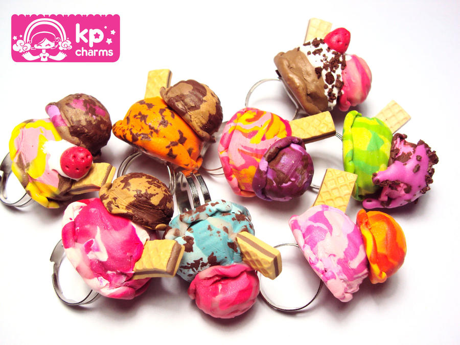 ice cream balls rings by KPcharms