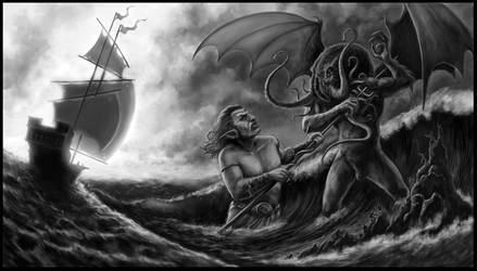Posiedon vs Cthulu by Ostrander