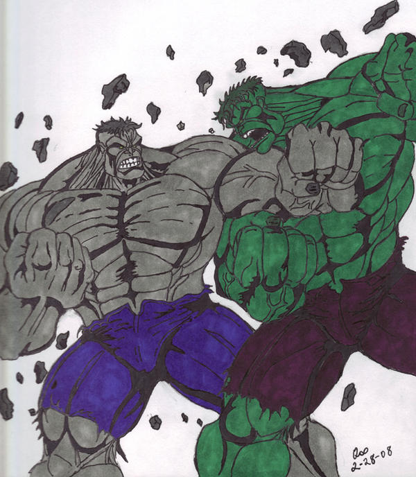 Gray Hulk vs. Green Hulk by QBZ on DeviantArt