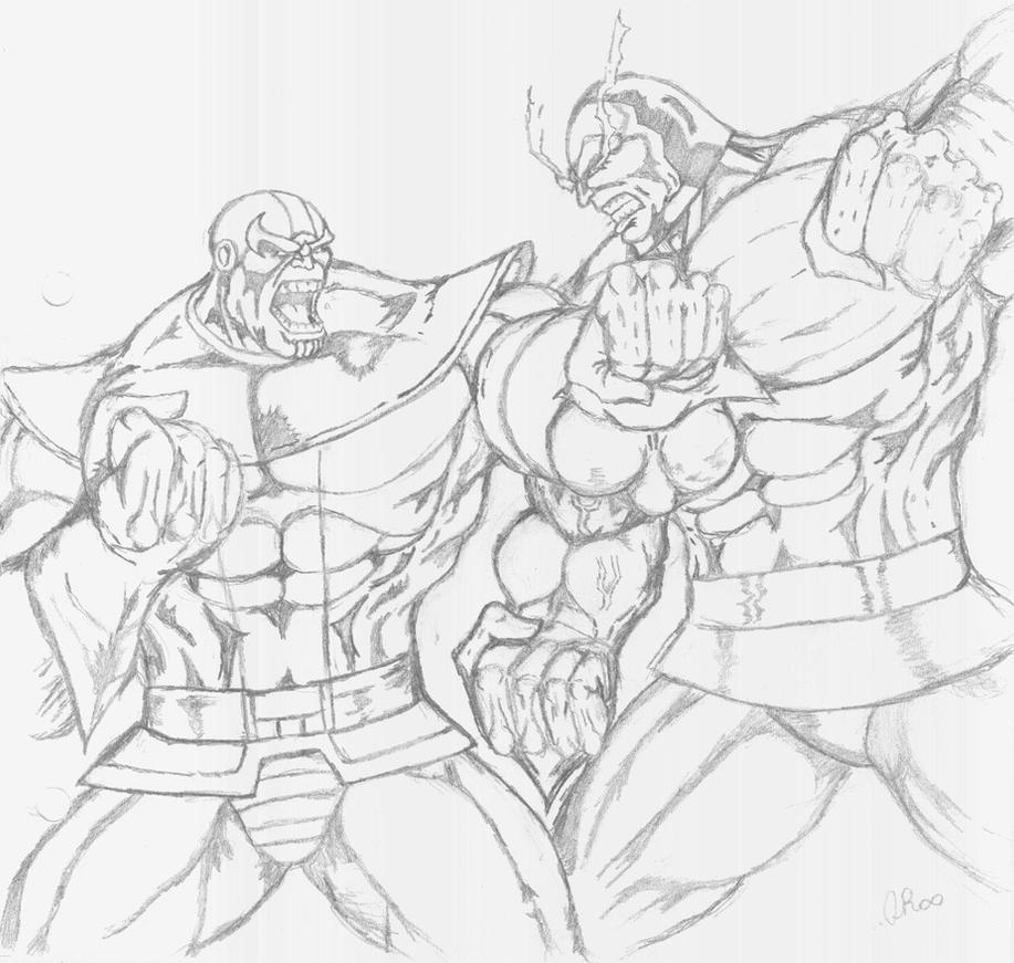 Superhero Thanos Coloring Pages: Thanos Vs. Darkseid By QBZ On DeviantArt