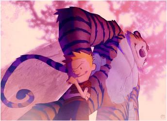 lil Calvin big Hobbes by CoranKizerStone