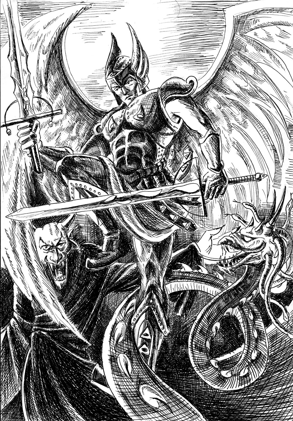 This is an image of Slobbery St Michael The Archangel Drawing