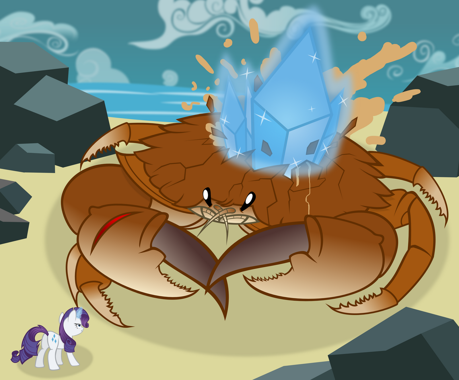 Rarity VS Giant Crab -vector- by Godoffury