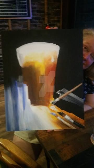 Beer and brushes anyone? by debweiserart
