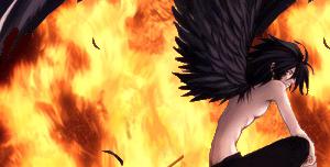 Fallen Angel at fire by FlyuuChan