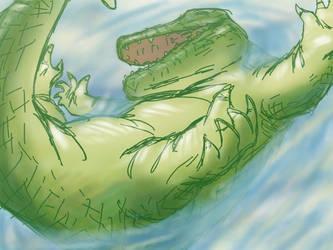 crocodile at the beach by croovman