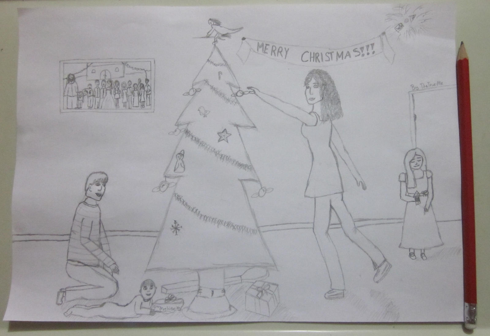 Harry Potter Christmas Drawing. Uncoloured. By TheTrueMe On DeviantART