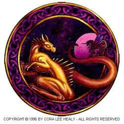 Dragon and Unicorn Moon by khorah