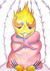 Bird meditation in cage by Mortiegane