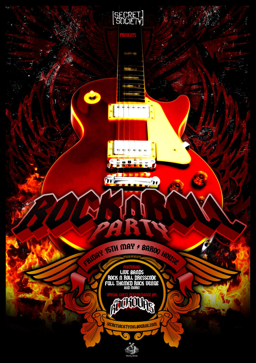 Rock n roll poster design -  Rock N Roll Party Poster By Lazwah