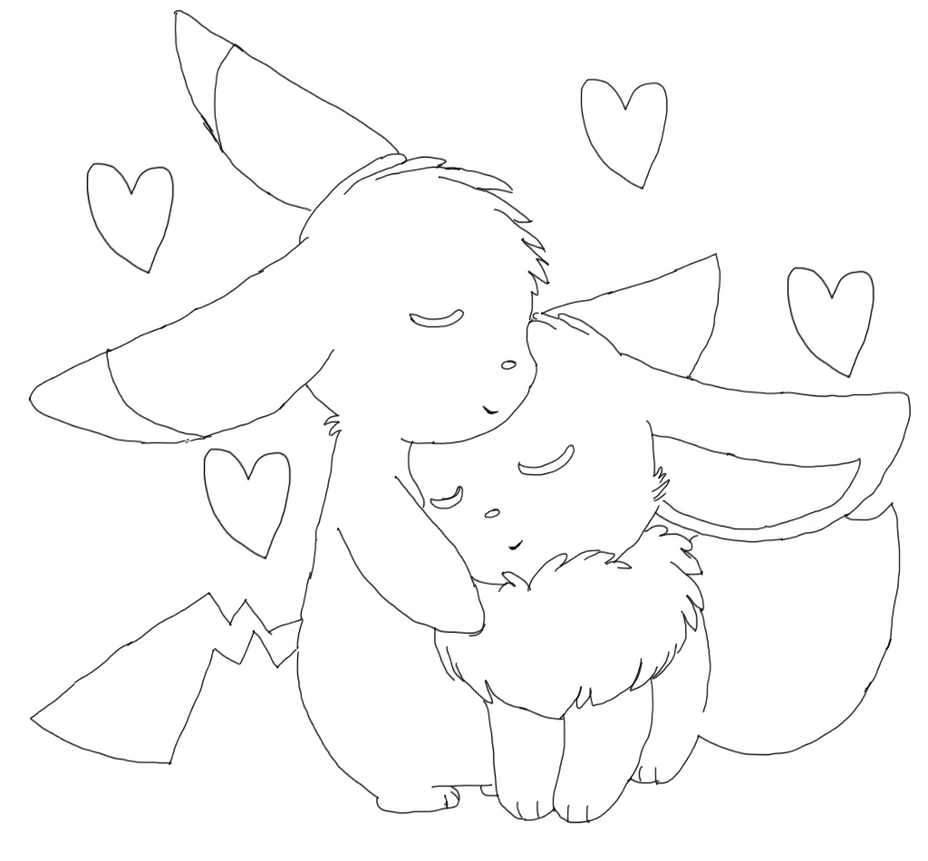 Eevee and pikachu by jazzy123474 on deviantart for Pokemon eevee coloring pages