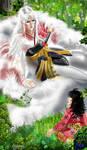 Sesshoumaru and Rin meet by Asurama