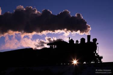 Locomotive in the sunrise