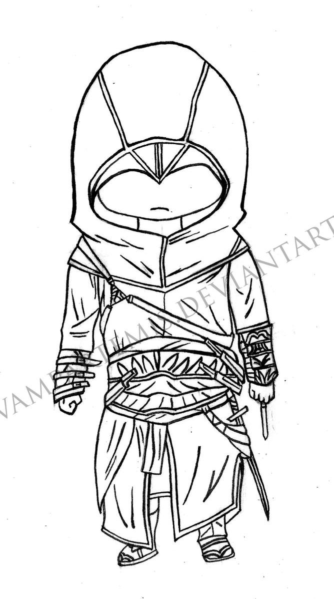 Chibi Lineart : Altair chibi lineart by vampartemis on deviantart