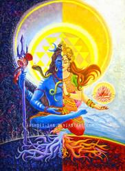 Shiva and Shakti (Ardhanarishvara) by Ashdei-san