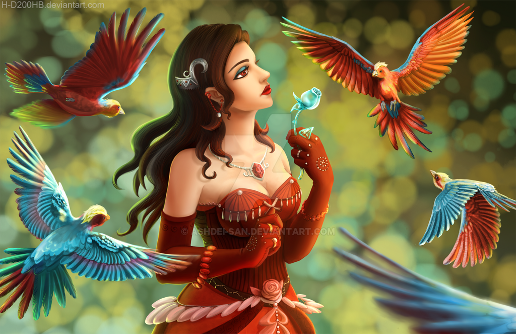 Lady and her birds by Ashdei-san